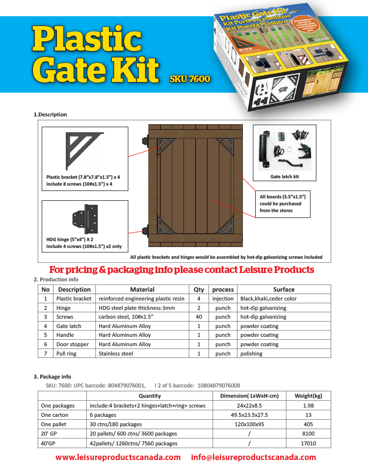 Plastic Gate Kit